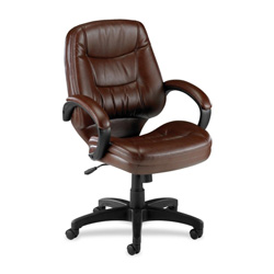 "Lorell Westlake Series Mid Back Management Chair, 26-1/2"" x 28 1/2"" x 43"", Brown Leather"