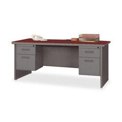 "Lorell Durable Double Pedestal Desk, 72"" x 36"", Mahogany/Charcoal"