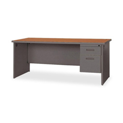 "Lorell Durable Single Pedestal Desk, 66"" x 30"", Cherry/Charcoal"