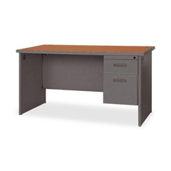 "Lorell Durable Single Pedestal Desk, 48"" x 30"", Cherry/Charcoal"