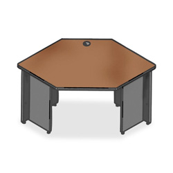 "Lorell Durable Corner Desk, 42"" x 24"", Cherry/Charcoal"