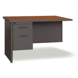 "Lorell Durable Right Desk Return, 48"" x 24"", Cherry/Charcoal"