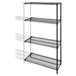 "Lorell Wire Shelving Add-On, 48"" x 24"", Black"