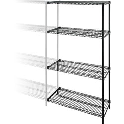 "Lorell Wire Shelving Add-On, 48"" x 18"", Black"