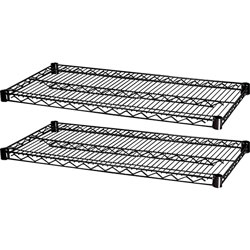 "Lorell Extra Shelves for Wire Shelving, 48"" x 18"", Black"