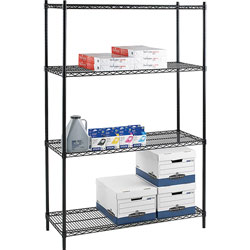 "Lorell Wire Shelving Starter Kit, 48"" x 24"", Black"