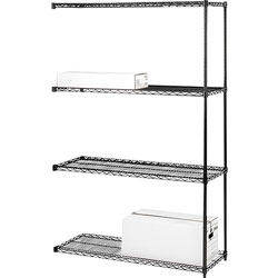 "Lorell Wire Shelving Add-On, 36"" x 18"", Black"