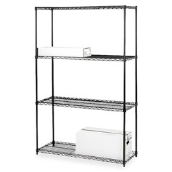 "Lorell Wire Shelving Unit, 36"" x 18"", Black"
