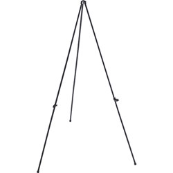 "Lorell Black Folding Easel with Adjustable Display Holder, 31""x31""x63""H"