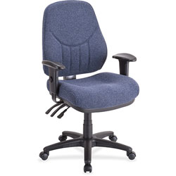 "Lorell Adjustable Highback Chair, 26 7/8"" WX28"" DX40 1/2 44"" H, Blue"