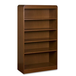 "Lorell Radius Veneer Bookcase, 5 Shelves, 36"" x 12"" x 60"", Cherry"