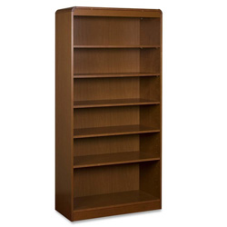 "Lorell Radius Veneer Bookcase, 6 Shelves, 36"" x 12"" x 72"", Cherry"