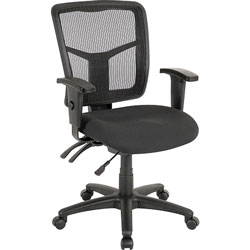 Lorell Mid Back Swivel Task Chair, Black Mesh