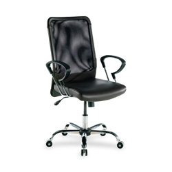 "Lorell Executive High-Back Chair, 24-3/4"" x 25-1/2"" x 42-1/2"", Black Leather"