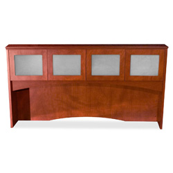 "Lorell Overhead Storage With Glass Doors, 72""x16""x41"", Mahogany"