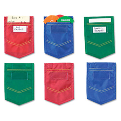 Learning Resources Mini Pockets, Blue, Red, Green, 4 x 6, 6/Pack