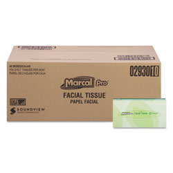 Marcal 100% Recycled Convenience Pack Facial Tissue, White, 100/Box, 30 Boxes/Carton