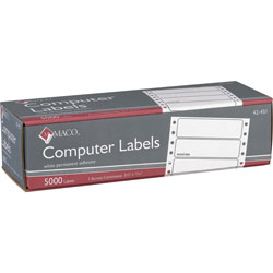 "Maco Tag & Label Data Processing Labels, 3 1/2""x15/18"", 1 Across, White"