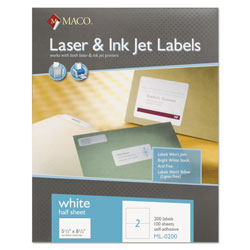 Maco Tag & Label White All-Purpose Labels, 5 1/2 x 8 1/2, 200/Box