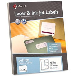 "Maco Tag & Label Shipping Labels, 3 1/3""x4"", 600/BX, White"