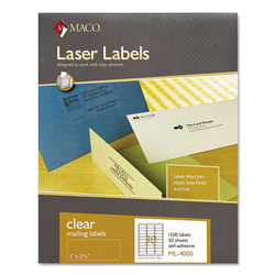 "Maco Tag & Label Matte Labels, Address, 1""x2 5/6"", Clear"