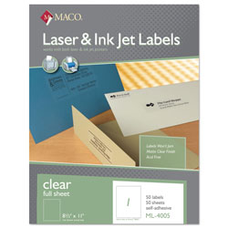 "Maco Tag & Label Matte Labels, Full Page, 8 1/2""x11"", Clear"