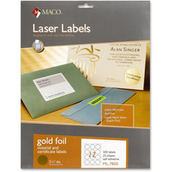 "Maco Tag & Label Foil Laser Seals, 2 1/2"" Diameter, 300/Pack, Gold"