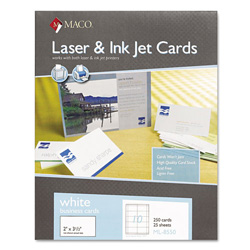 "Maco Tag & Label Business Cards, Laser/Inkjet, 3 1/2""x2"", White, 25 Sheets"