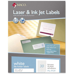Maco Tag & Label File Folder Labels, 2/3 x 3 7/16, White, 750/Box