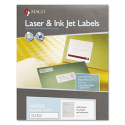 Maco Tag & Label File Folder Labels, 2/3 x 3-7/16, White, 1500/Box