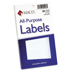 "Maco Tag & Label Multipurpose Self-Adhesive Removable Labels, 3/4"" dia., White, 1015/Pack"