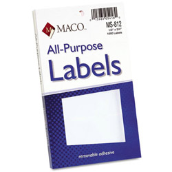 Maco Tag & Label Multipurpose Self-Adhesive Removable Labels, 1/2 x 3/4, White, 1000/Box