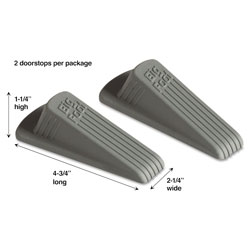 Master Caster Big Foot Doorstop, No-Slip Rubber Wedge, 2-1/4w x 4-3/4d x 1-1/4h, Gray, 2/Pack