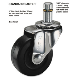 Master Caster Standard Zinc Finish, 7/16 w x 1 3/8h Stem, Soft Tread, 4/Set
