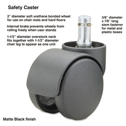 Master Caster Safety Casters, Oversz. Neck, 3/8w x 1h Stem, Soft Tread, 5/St
