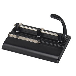 "Master Pro Master Mfg® 32 Sheet High Capacity Lever Action Adjustable Hole Punch, 11/32"" Dia., Black"