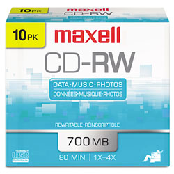 Maxell CD RW Rewritable Discs, Branded Surface, 700MB/80MIN, 4x, Silver, 10/Pack