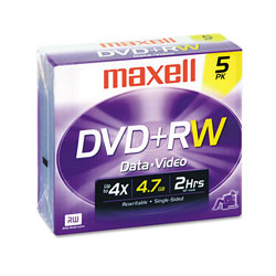 Maxell DVD+RW, 4.7GB, Rewritable Disc, 4x, Jewel Case, Silver, Single Sided, 5/Pack