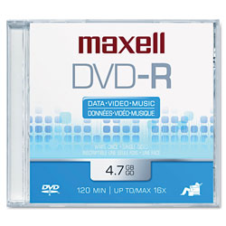 "Maxell ""Write Once"" Single Sided Recordable 4.7GB DVD R"