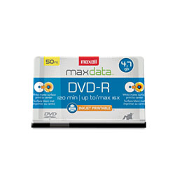 Maxell DVD R, 4.7GB, 120/360 Minutes, White Matte Surface, 50/PK