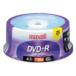 Maxell DVD+R Recordable Discs, 4.7GB, 16x, 25 Per Spindle Pack