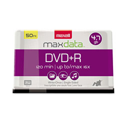 Maxell DVD+R Recordable Discs, 4.7GB, 16x, 50 Per Spindle Pack