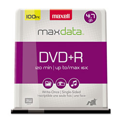 Maxell DVD+R Recordable Discs, 4.7GB, 16x, 100 Per Spindle Pack