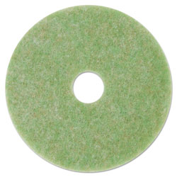 "3M Low-Speed TopLine Autoscrubber Floor Pads 5000, 13"" Diameter, Green/Amber, 5/CT"