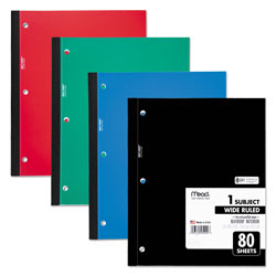 Mead Single Subject Notebooks, Wide Margin/Rule, 8 x 10-1/2, WE, 80 Sheets/Pad