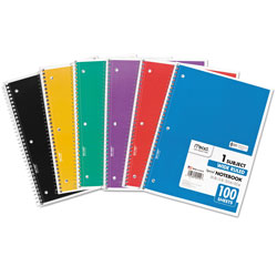 Mead Bound Single Subject Wide Rule Notebook, 10 1/2 x 8 Size, 100 Sheets