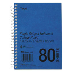 Mead Mid Tier Notebook, Non Perforated Pages, 7 x 5, 80 Sheets