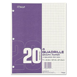 "Mead Graph Paper, Quad Ruled, 3HP, 8-1/2"" x 11"" 20 Sh/PK, White"