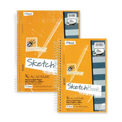 "Mead Wirebound Sketch Book, w/ Pockets, 9""x6"", 70 Sheets"