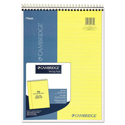 Mead Premium Wirebound Legal Pad, 8 1/2 x 11 3/4, Canary, 70 Sheets